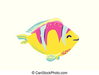 Cute fish clown cartoon vector