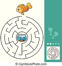 Cute fish educational maze game. Vector illustration of labyrinth for children