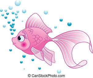 Cute Fish - Illustration of cute pink fish