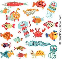 cute, fish., personagem, apartamento, engraçado, caricatura