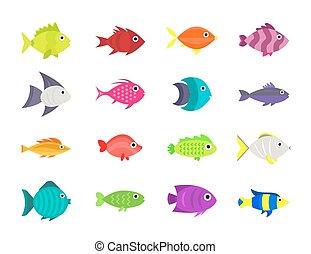 Cute fish vector illustration icons set. Fish flat style...