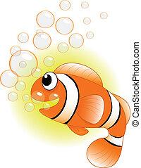 Cute Fish with Bubble Cartoon