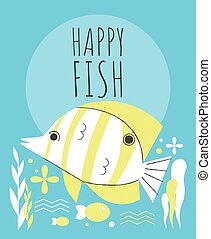 Cute fish with flowers and plants greeting card