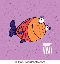 Cute fish with smile in handmade cartoon style