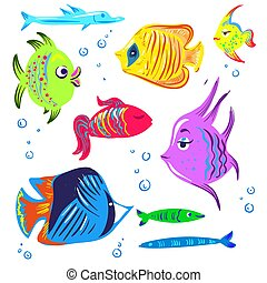 Cute fishes cartoon collection