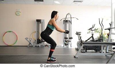 cute fit girl performing leg exercises - cute fit girl...
