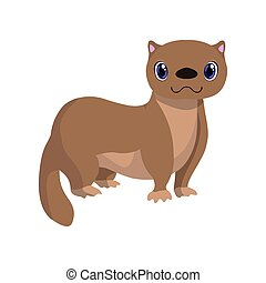 Cute fitch, lovely animal cartoon character vector Illustration