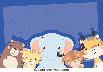 cute five animals comic cartoon characters