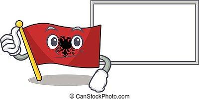 cute flag albania Scroll cartoon character Thumbs up with board