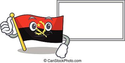 cute flag angola Scroll cartoon character Thumbs up with board
