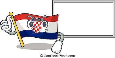 cute flag croatia Scroll cartoon character Thumbs up with board