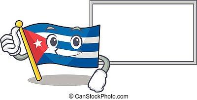 cute flag cuba Scroll cartoon character Thumbs up with board