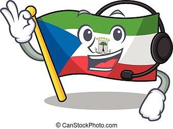 cute flag equatorial guinea Scroll cartoon character design ...