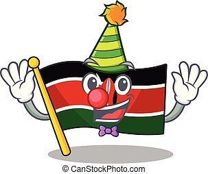 cute flag kenya character smiley clown cartoon