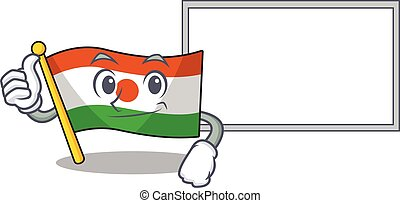 cute flag niger Scroll cartoon character Thumbs up with board