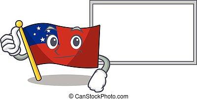 cute flag samoa Scroll cartoon character Thumbs up with board