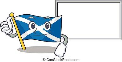 cute flag scotland Scroll cartoon character Thumbs up with board