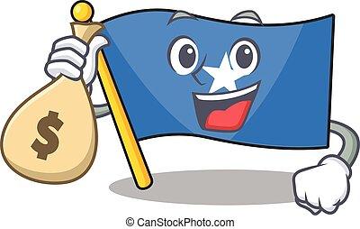 Cute flag somalia cartoon character smiley with money bag