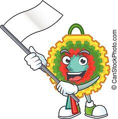cute flag standing with pinata cartoon character style