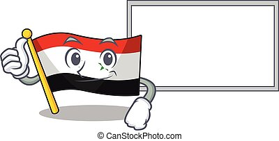 cute flag syria Scroll cartoon character Thumbs up with board