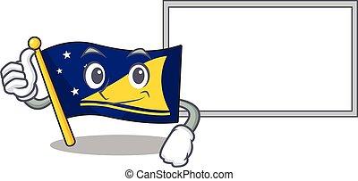 cute flag tokelau Scroll cartoon character Thumbs up with board
