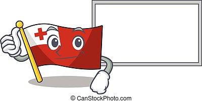 cute flag tonga Scroll cartoon character Thumbs up with board