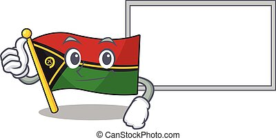 cute flag vanuatu Scroll cartoon character Thumbs up with board