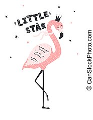 Cute flamingo with text little star.