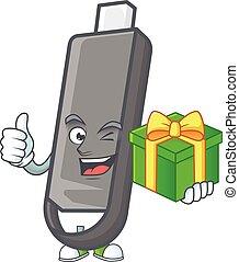 Cute flashdisk character holding a gift box