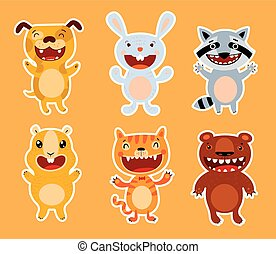 Cute flat animals. Dog, rabbit, raccoon, guinea pig, cat, bear