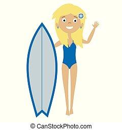 Cute flat cartoon surfer blond girl standing with the blue surf board in bikini swimsuit