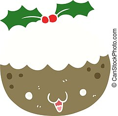 cute flat color style cartoon christmas pudding