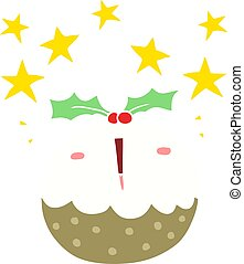 cute flat color style cartoon happy christmas pudding