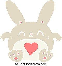 cute flat color style cartoon rabbit with love heart