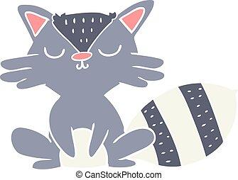 cute flat color style cartoon raccoon