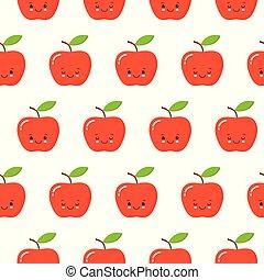 cute flat design cartoon apple kawaii seamless pattern character red white background