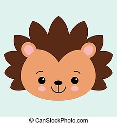 Cute flat hedgehog with blush. Childish illustration. Vector animal on blue background.