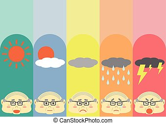 Cute Flat Old Man Cartoon Design with differrent moods