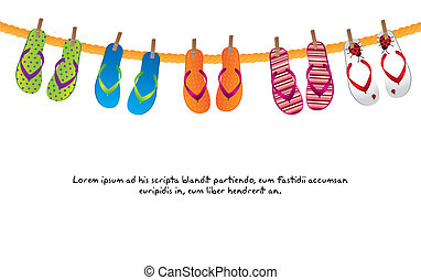 cute flip flops isolated over white background. vector illustration