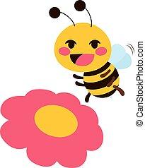 cute, flor, abelha