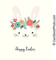 cute, flor, -, ilustração, coroa, vetorial, bunny easter, cartão, feliz