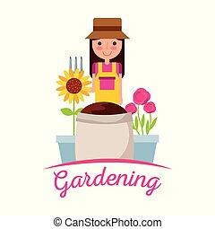 cute, flor, jardinagem, girassol, solo, pote, ancinho, saco, menina, imagem, jardineiro