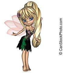 cute, flor, toon, 1, fada, vestido