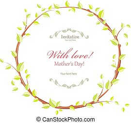 cute flora wreath with floral twig on grunge for your design