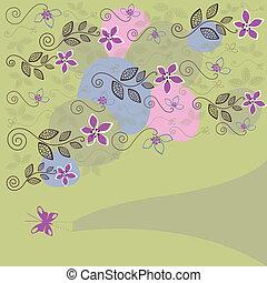 Cute floral background vector illustration
