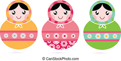 Cute floral colorful Matryoshka set isolated on white -...