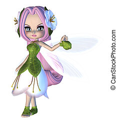 Cute Floral Fairy - Digitally rendered illustration of a...