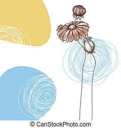 Cute floral greeting card or baby shower, flowers and ladybug