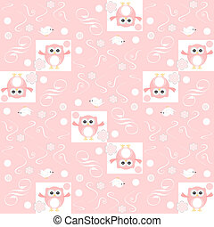 Cute floral seamless background with pink owls