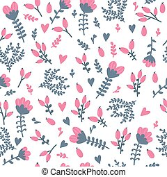Cute floral seamless pattern with berries. Spring background